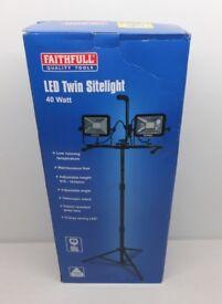 FAITHFULL FPPSLLED40VL SMD LED TWIN HEAD TRIPOD SITELIGHT 3600 LUMENS 40w 110v