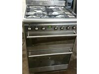 SMEG,SUK62MFX5 FREE STANDING STAINLESS STEEL DUAL FUEL KITCHEN RANGE/COOKER 600MM IMMACULATE