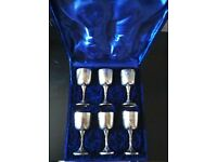 SET OF 6 EPNS GOBLETS IN BLUE VELVET CASE