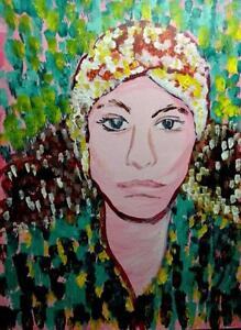 "9x12"" GYPSY LADY Original Art Painting by Valerie Koudelka / Acrylic on Thick Art Paper / Pointillism / Expressionist"