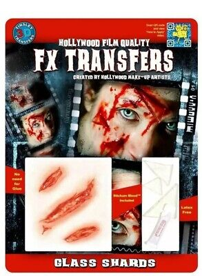 Tinsley FX Transfers Glass Shards Halloween Theatre Special Effect Face Makeup