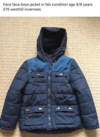 Fat face boys jacket age 8/9