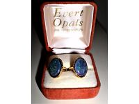 GENUINE AUSTRALIAN GOLD PLATED QUALITY TRIPLET OPAL CUFFLINKS