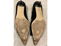 2 pairs of L K Bennet suede Heels one black one grey size 41