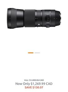 Sigma 150-600mm f5-6.3 lens canon mount