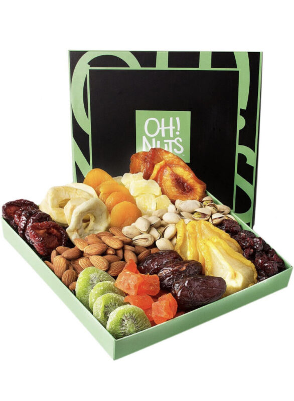 OH NUTS - Gourmet Dried Fruit and Nut 12 variety gift box Exp 08/2021 Great Gift