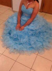 Blue ruffle prom dress