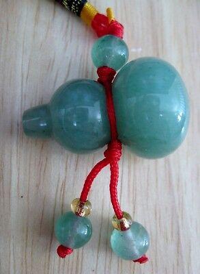 """Feng Shui Green Jade Wu Lou Wulou Gourd Calabash Amulet Charm Pendant Hulu 1.25"""""""