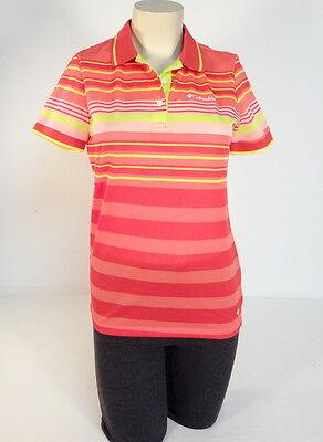 Multi-stripe Mesh (Columbia Sportswear Red Multi Stripe Mesh Short Sleeve Polo Shirt Women NWT)
