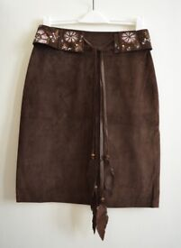 Butterfly by Matthew Williamson Brown Suede Skirt Size 10