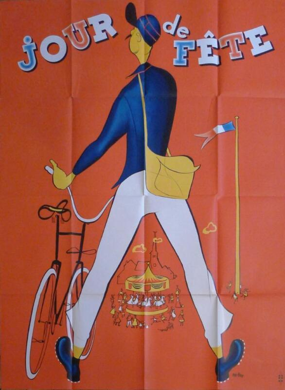 JOUR DE FETE - JACQUES TATI / BICYCLE / CAROUSEL / POSTMAN - FRENCH MOVIE POSTER