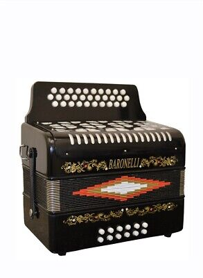 Baronelli Accordion Black SOL Tone Accordeon GCF new NUEVO 31/12 w/ case