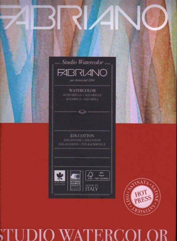 Fabriano Studio Watercolor Paper Pack 90 lb (200gsm) 9x12 100 sheets Cold Press