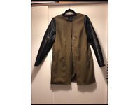 H & M coat jacket khaki and black quilted arms. Medium