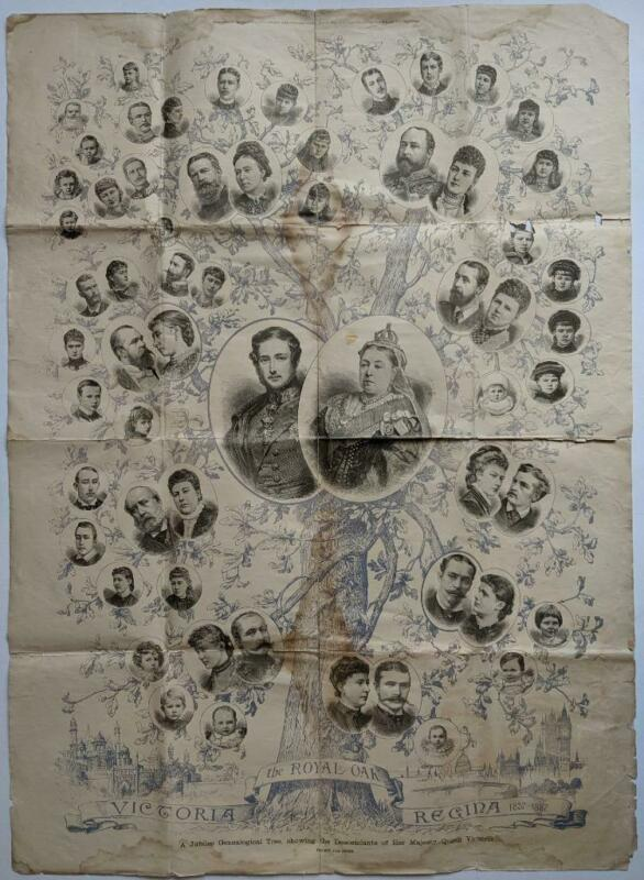 1887 ROYALTY POSTER QUEEN VICTORIA & DESCENDANTS ROYAL FAMILY TREE ILLUSTRATED