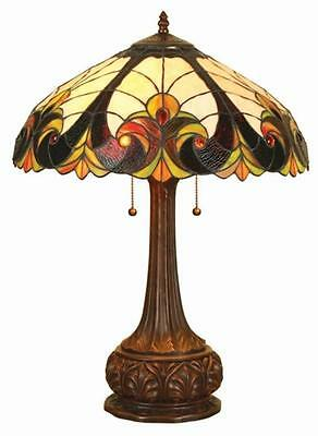 """Tiffany Style Stained Glass Victorian 2 Light Table Lamp 18"""" Shade Handcrafted"""