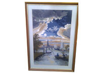 Needlepoint / Wool Tapestry Picture in Frame – Riverside Boat and Bridge Scene with Sky. 60cm x 43cm
