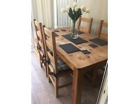 Reduced to Sell : SOLID PINE TABLE & 4 CHAIRS (CHUNKY / MODERN / RUSTIC / FARMHOUSE)