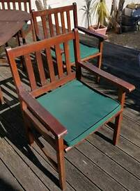 4 x Solid Wood Garden Chairs