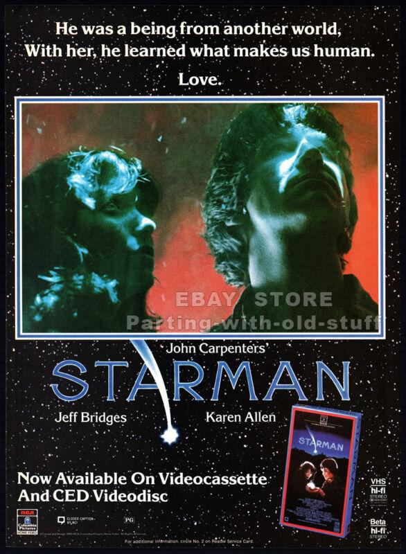 STARMAN__Original 1985 print AD / movie promo advert__JEFF BRIDGES__KAREN ALLEN