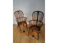 A pair of Antique Windsor Chairs with crinoline stretchers.