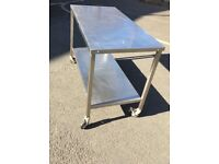 Stainless steel Catering Table on wheels (lockable)