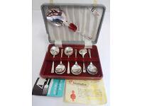 Vintage De Montfort Sheffield Silver Plated EPNS Dessert Spoons & Server