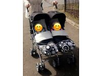 Mamas and Papas Twin Pushchair with footmuffs