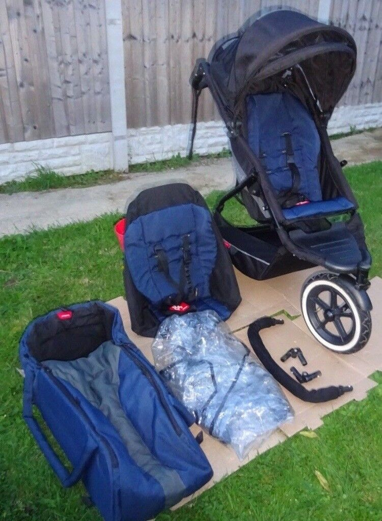 Phil & Teds Explorer Double Buggy Pushchair Stroller + Extras