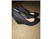 Ladies (or girls) Black suede Wedge heel shoes size 5
