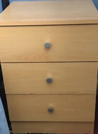 2 x beech bedside tables with three drawers each