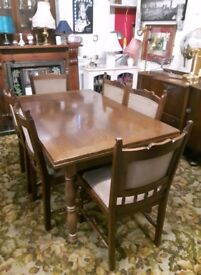 Vintage Solid Oak Extending Dining Table and six chairs