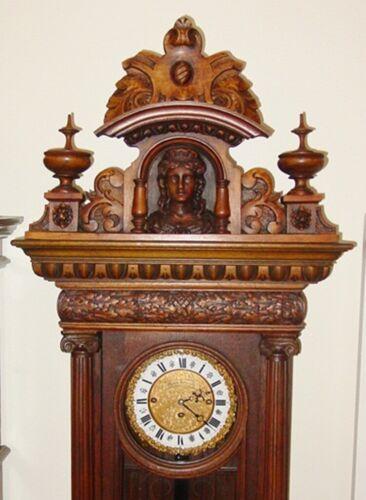 Beautiful antique German open well tall case clock-3 wt---Moritz Neurath---15517