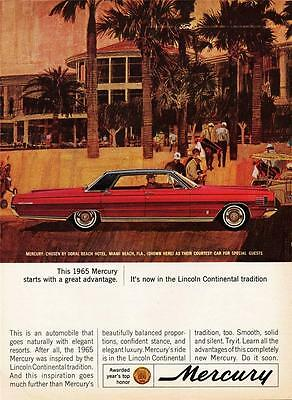 Lane Old Print (Old Print. Red/Black 1965 Mercury Park Lane 4-Door Hardtop Auto Ad)