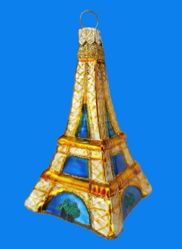 BLUE GOLD EIFFEL TOWER EUROPEAN BLOWN GLASS CHRISTMAS ORNAMENT FRANCE LANDMARK