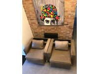 Taupe Leather Armchair - From hotel x 4 available
