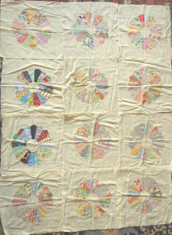 """12 Exquisitely Hand Sewn """"Dresden Plate"""" Quilt Block Squares"""