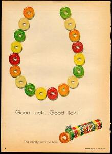 Large 1958 full page ad for Life Savers Candy- horse shoe