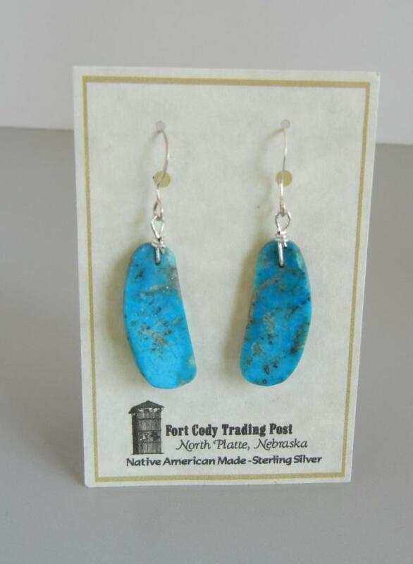 """Turquoise Slab 1 3/4"""" Earrings Native American Sterling Wire Pierced New on Card"""