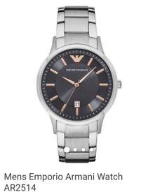Emporio Armani AR2514 Men's Date Bracelet Strap Watch, Silver/Grey
