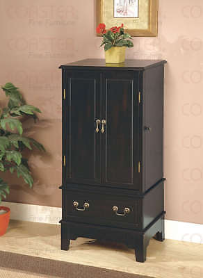 Black Finish Jewelry Armoire Lingerie Chest by Coaster 900095 Black Finish Jewelry Armoire