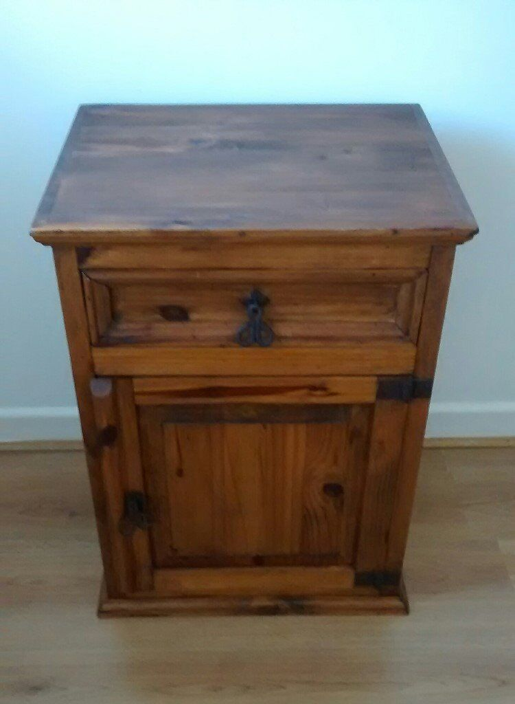 nice solid rustic bedside table / cabinet