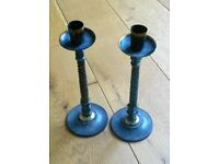 NEW Pair Brass Candle Sticks:Blue & Bronze distressed Effect: Fireplace/Tableware/Dining/Ornament