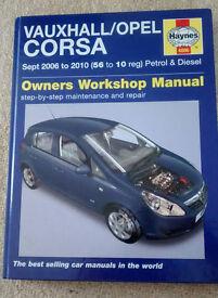 HAYNES 4886 WORKSHOP MANUAL VAUXHALL/OPEL CORSA 2006 TO 2010 PETROL AND diesel