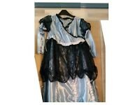 Navy lace and pale blue hand made princess dressing up dress