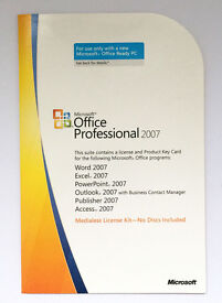 Genuine Microsoft Office Professional / Pro 2007 Product Key Card ( Word, Excel, Outlook, Access )