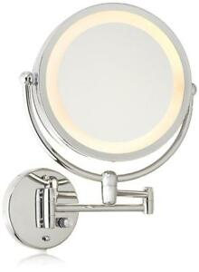 New Danielle Revolving Wall-Mounted Lighted Mirror, Chrome, 10X