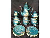 *RARE* Handmade 15 piece gold & green lustre coffee set