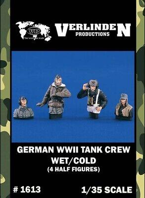 Verlinden 1:35 WWII German Tank Crew Wet Cold 4 Resin Figures Bust Kit 1613