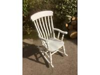 High Back Painted Solid Beech Slat Back Rocking Chair